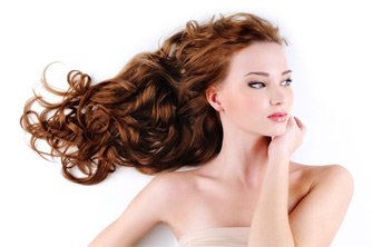 Female model with flowing hair