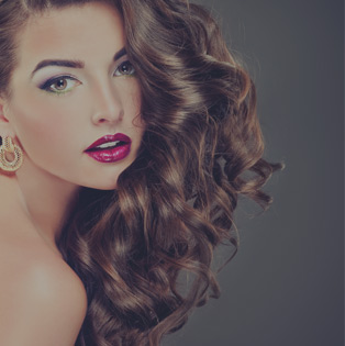 Woman with styled hair and makeup